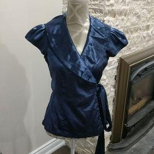 Suzy Shier blue satin wrap blouse